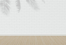 White Brick Wall With Shadow. Wood Floor. Parquet. Texture Background. Empty White Interior. Loft. Blank For Design. Backdrop.