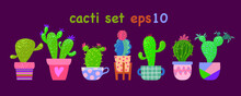 Vector Set Of Various Cacti In Assorted Ornamental Flowerpot And Pots.