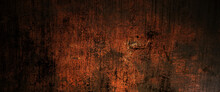 Red And Black Grunge Background With Scratches, Scary Red Dark Walls, Concrete Cement Texture For Background