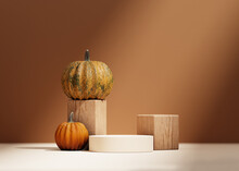 3D Halloween Background Podium Display On Beige, Wood And Pumpkin. Brown Cosmetic, Beauty Product Promotion Autumn Pedestal With Shadow.  Natural Showcase. Abstract Minimal Studio 3D Render