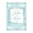 Wedding invitation template with flower print ornament design. Vector illustration