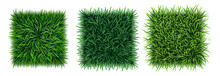 Set Of Realistic Green Grass Textures With Fresh Turf Carpet, Field Or Lawn, Top View