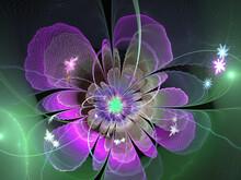 Fractal Floral Pattern. Digital Art. Dark Abstract Background For Design, Site Design - Raster Illustration.