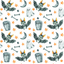 Watercolor Halloween Background, Bat Seamless Pattern, Halloween Scrapbook Paper, Trick Or Treat
