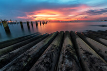 True Tilt Shift View Of Abandoned Concrit Poles From Fencing In The Sea Beautifull Sunrise At Abandone Construction Pole