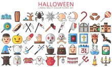 Halloween Lineal Multi Color Icons Set, Include Ghost, Candy, Mask, Skull, Zombie, Moon And Others. Used For Modern Concepts, Web, UI Or UX Kit And Applications, EPS 10 Ready Convert To SVG