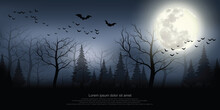 A Scary Forest With A Mist Curtain Lonely Atmosphere Halloween Festival Background Illustration.