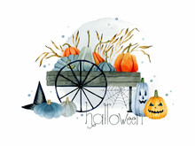 Halloween Pumpkins Cart With Lettering Watercolor Template