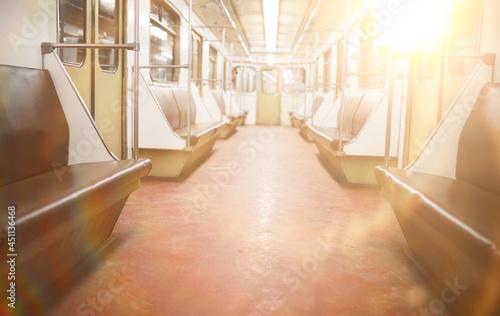 Fotografie, Obraz Subway car with empty seats. Empty subway.