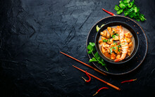 Tom Yum Soup With Seafood And Coconut Milk