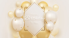 Happy Birthday Card With Luxury Balloons And Ribbon 3d Style Realistic On Cream Shade Background. Vector Illustration For Design.