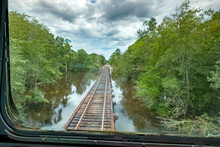 The Alapaha River As Viewed From A Train In Rural Southern Georgia, USA
