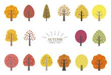 秋の木 イラスト 素材セット / Vector Eps