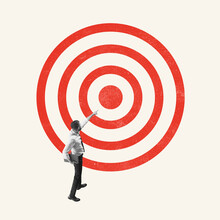 Art Collage. Young Man, Office Worker, Employee Standing In Front Of Target Isolated On Light Background. Concept Of Finance, Economy, Goals, Achievements, Occupation