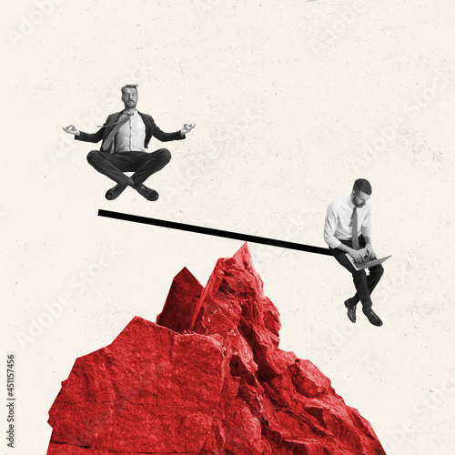 Keep balance in work tasks, goals. Young man, employee, office worker isolated on light background. Collage, illustration. Business concept