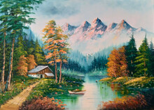 Original Oil Painting The Cottage And The Mountain River