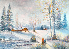 Original Oil Painting The Winter Cottage