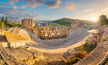 The Odeon Of Herodes Atticus Roman Theater Structure At The Acropolis Of Athens