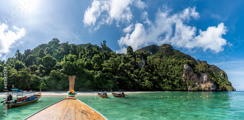 Landscape with famous Monkey beach in Phi Phi Islands, Thailand
