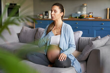 Meditation Of Pregnat Woman Before Childbirth