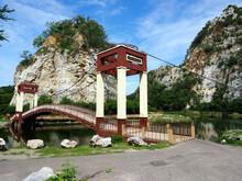 """Public Rock Mountain Park At Ratchaburi, Thailand, Letter On Bridge Label Translation Is """"Khao Hin Ngu (snake Stone) National Park"""""""