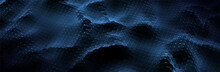 Abstract Blue Background. Dark Circle Pattern. Virtual Computer Landscape. Technology Style. Sci-fi Surface. Banner Or Presentation Template. Vector Illustration