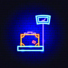 Baggage Scales Neon Sign. Vector Illustration Of Luggage Promotion.