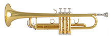 Golden Shiny Metallic Brass Trumpet Music Instrument Isolated White Background. Musical Equipment Entertainment Orchestra Band Concept.