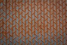 Old Steel Texture Brown Background. Brown Rusted Steel. Brown Painted Metallic Plate Anti Slip Surface.