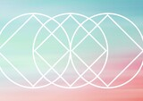 Composition of white shapes and circles on colourful background