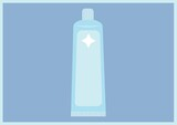 Composition of white and blue toothpaste icon on blue background