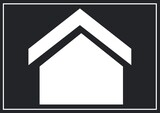 Composition of black and white shape of house on black background