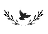 Composition of black leaves and bird icons on white background