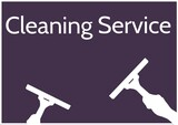 Composition of cleaning services text and cleaning products icons over black background