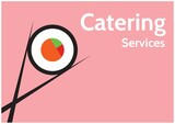 Composition of catering services text and sushi icon over pink background
