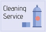 Composition of cleaning services text and cleaning products icons over blue background