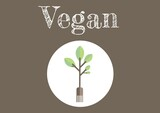 Composition of online cooking text over plant icon on brown background