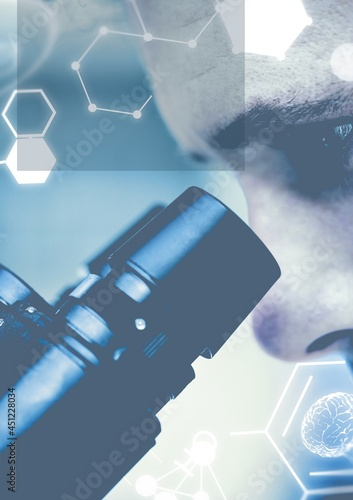 Composition of molecules and science icons over scientist using microscope
