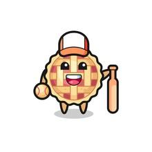 Cartoon Character Of Apple Pie As A Baseball Player