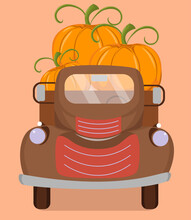Cute Image Of A Retro Truck With Orange Pumpkins. Vector Illustration