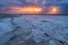Salty Lagoon Near Sea At Sunset