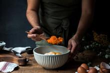 Crop Man Mixing Ingredients For Pumpkin Pie