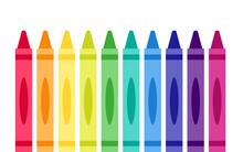 Crayons Rainbow Icon Set. Clipart Image Isolated On White Background