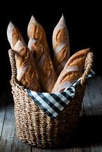 Freshly Baked Baguettes In Basket