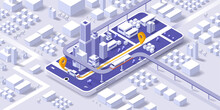 Maps And Navigation Online On Mobile Application, City Isometric Plan With Road And Buildings, GPS, World Map. Isometric Smart City Concept. 3d Vector Illustration.