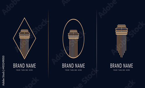 Fotografia collection or set of pillars of justice logo for attorney law legal firm lawyers