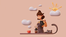Cute Smiling Brunette Girl In Glasses Wearing Brown Apron, Yellow T-shirt Making Hand-drip Coffee, Pours Hot Water From Black Teapot Into A Paper Filter. Good Morning. 3d Illustration In Pastel Colors