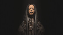 Portrait Of Cyborg Girl With Long Black Hair, Closed Eyes, Metal Grunge Wires On Her Neck Standing In Night Scene. 3d Illustration Of Futuristic Post Apocalypse Cyber Female Character In Burlap Cloak.
