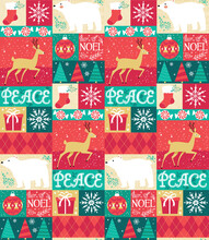 Adorable, Rustic Holiday Seamless Vector Pattern Featuring Christmas Elements And Characters In A Folksy Quilt Motif. Repeating Patterns Are Great For Gift Wrap, Backgrounds, And Packaging.