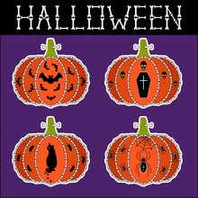 Set Of Halloween Stickers. Pumpkins With Bones, Bat, Coffin, Skull, Cat, Mouse, Spider, Spiderweb. One Bone Is Stuck In A Peduncle. Bone Letters Inscription. Funny Stickers. Vector